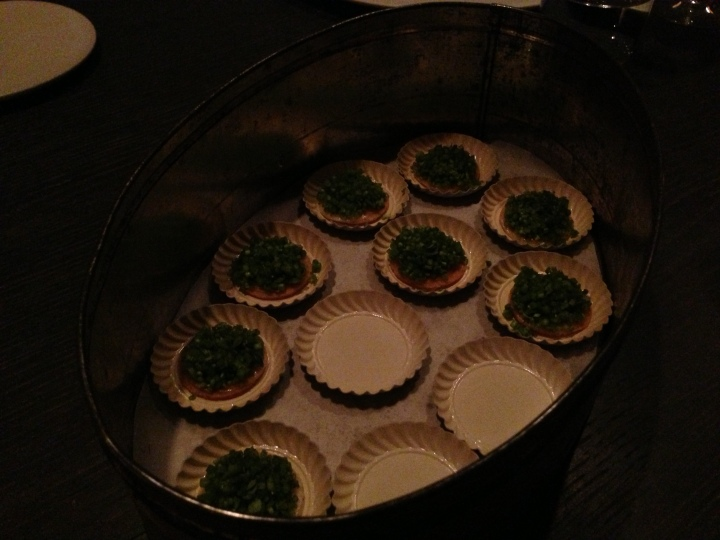 Cheese cookie, rocket & stems