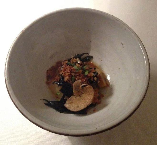 Jeruzalem artichoke, mushroom, crispy chicken skin...