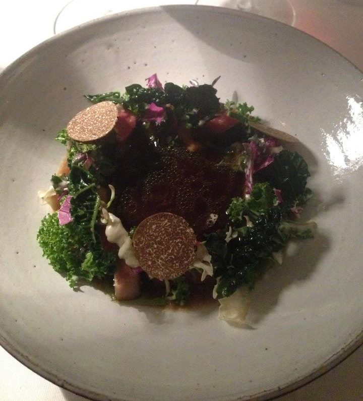 Veal tongue, mystery red meat, different structures of cabbage, stock with cabbage & truffle