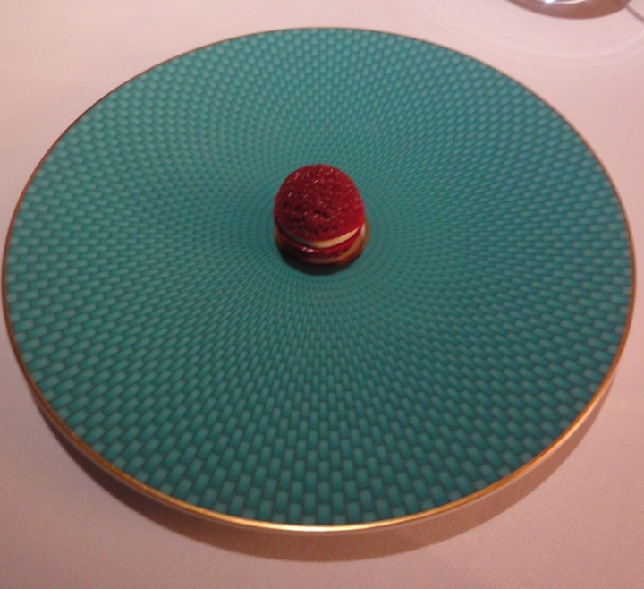Macaroon made from aerated beetroot horseradish cream