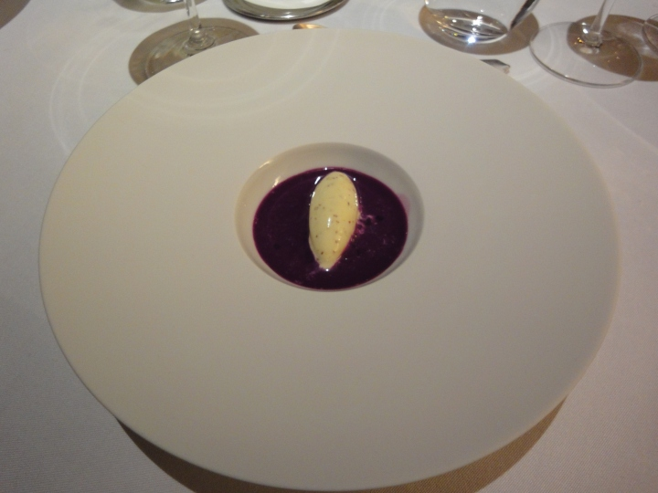 Red Cabbage Gazpacho (+ pommery grain mustard ice cream)