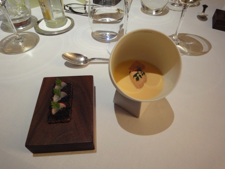 2) Oak Moss & Truffle Toast 3) Jelly of Quail, Crayfish Cream, Chicken Liver Parfait