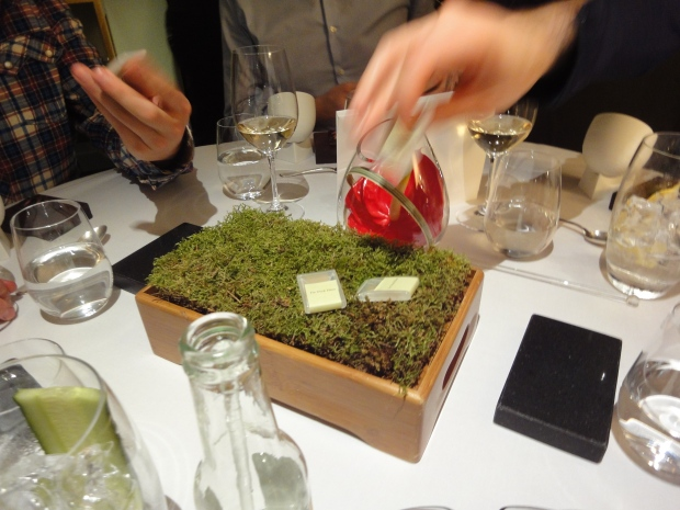 Moss in different shapes: 1) A thin edible piece of paper