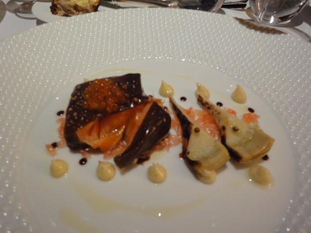 Salmon poached in a Liquorice gel, Artichokes, Vanilla Mayonnaise