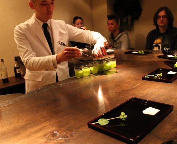 Preparing the second cocktail with Japanese kiwi & sake