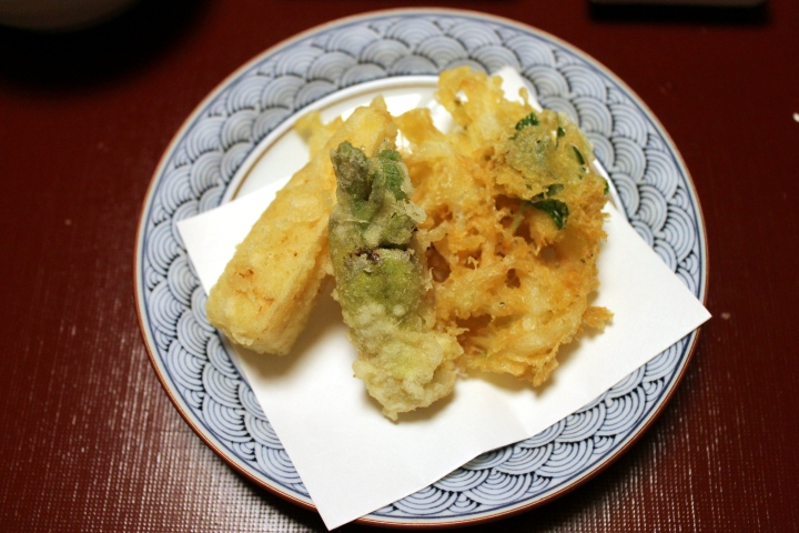 Tempura: Taranome (=spring vegetable), Baby Bamboo, Small Japanese Fish