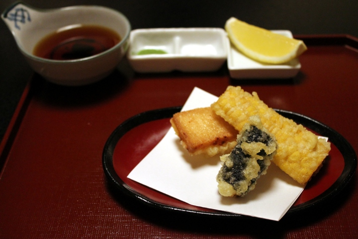 Tempura of Uni / Bread + Shrimp Paste / Sweet Corn