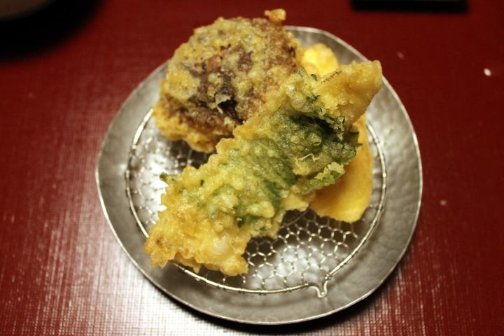 Tempura: Shiitake + Shrimp Paste / a white Fish wrapped ina SHizo leaf