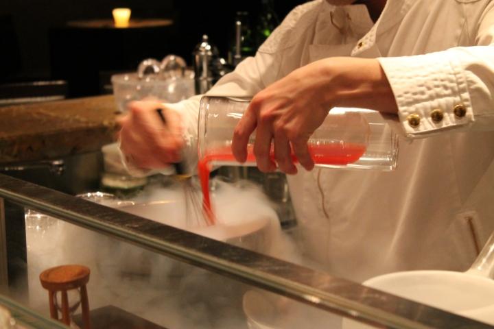 Preparation of sakura sorbet