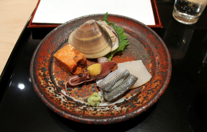 Sashimi of mystery white fish & gizzard, Octopus, Monk fish liver, Clam